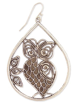 Antiqued Silver Metal Cutout Owl Teardrop Earring