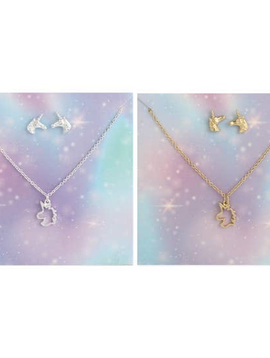 Fanciful Unicorn Post Earring & Necklace Set     (gold or silver)