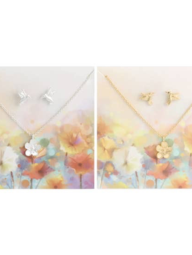 Spring Fever Bird Post Earring & Flower Necklace Set (gold or silver)