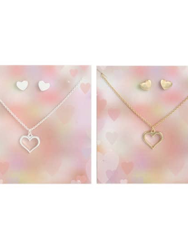 Sweet Heart Post Earring & Charm Necklace Set (gold or silver)