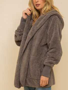 Hem & Thread Faux Fur Plush Jacket in Steel Grey