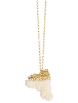 Gold Dipped White Coral Pendant Necklace