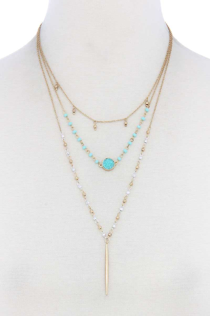 Stone Layer Beaded Necklace