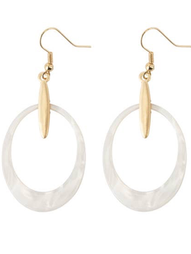 BOPS White Oval with Gold Accent Earrings