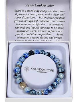 Kaleidoscope Blue Agate Chakra Color Bracelet