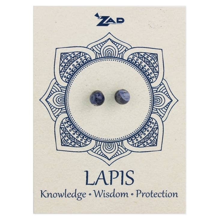 Lapis Round Post Earring