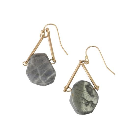 BOPS Black Stone Triangle Earrings