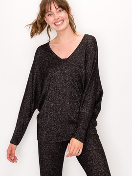 ENTI Marble Black LIghtweight Sweater Dolman Top