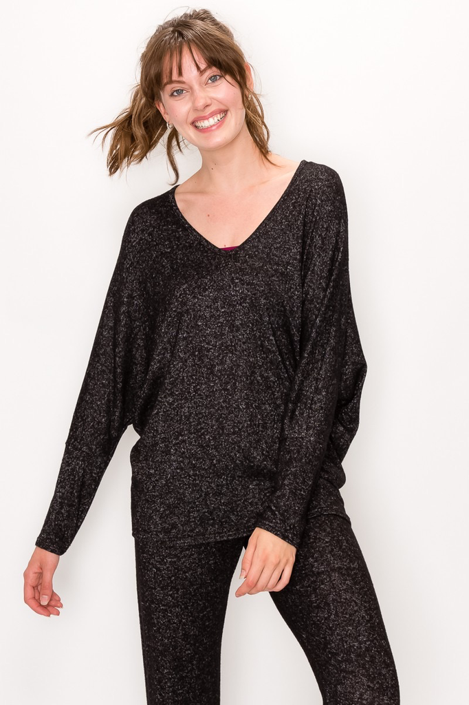 ENTI Marble Black LIghtweight Sweater Dolman Top