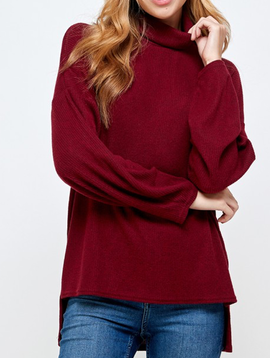 2 Hearts Burgundy Ribbed Turtleneck Top