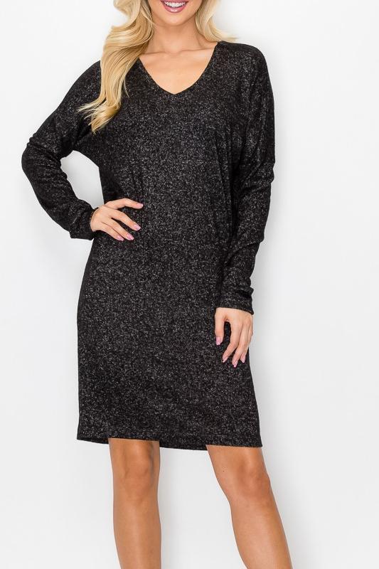 ENTI Marble Black LIghtweight Sweater Dress