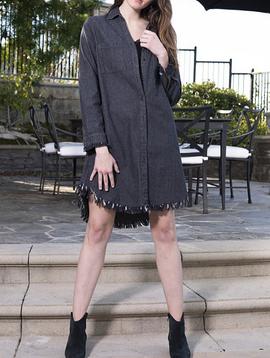 Turui Western Fringe Dress in Black