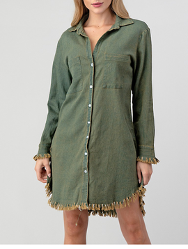 Turui Green Western Fringe Dress