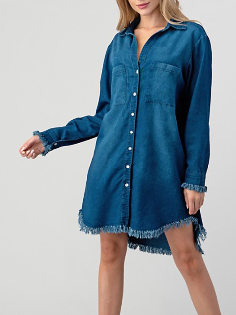 Turui Navy Western Fringe Dress