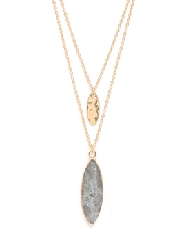 Labradorite Double Oval Charm Layered Necklace
