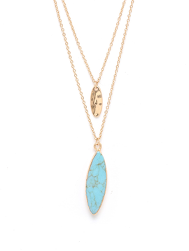 Turquoise Double Oval Charm Layered Necklace