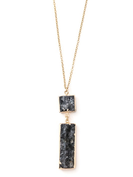 Tiered Geo Grey Stone Pendant Necklace