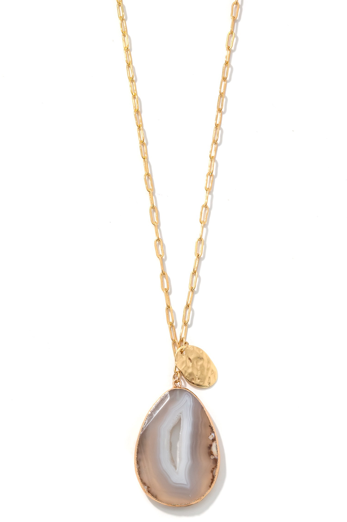 Smooth Tear Stone Charm Necklace