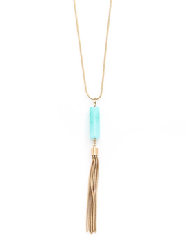Crystal Acrylic Tube Tassel Necklaces