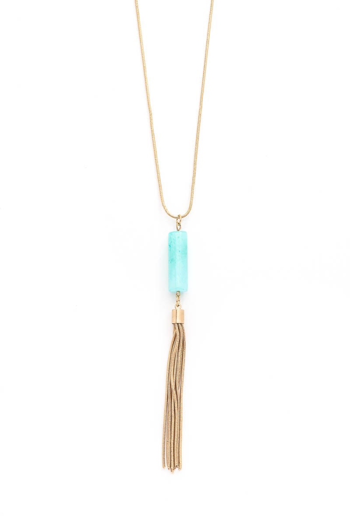 Crystal Acrylic Tube Tassel Necklaces