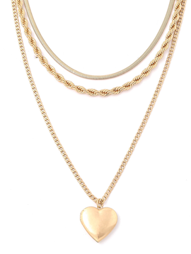 Gold Layered Heart Locket Necklace