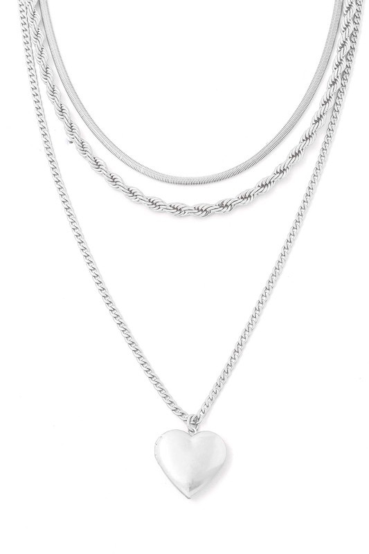 Silver Layered Heart Locket Necklace