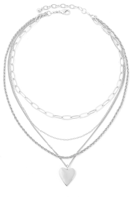 Silver Stacked Link Chain Heart Necklace