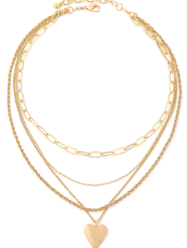 Gold Stacked Link Chain Heart Necklace