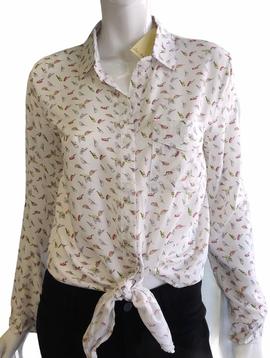 A Little Birdie Tie-Front Top