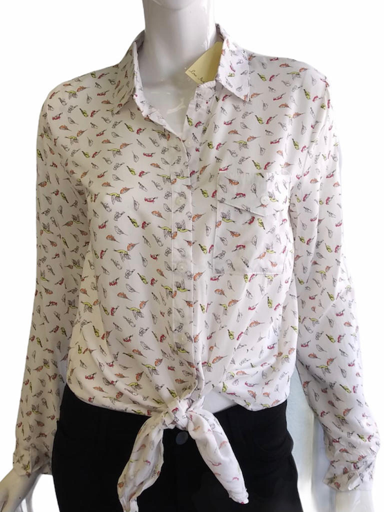 A Little Birdie Tie-Front Top