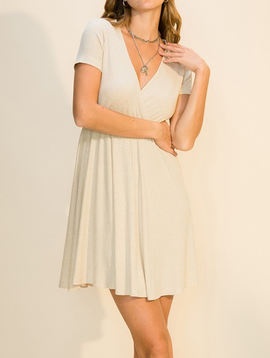 Sand Surplice Dress