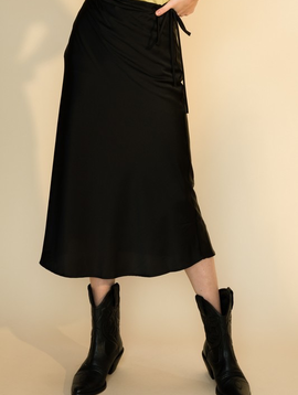 Serena Black Satin  Skirt