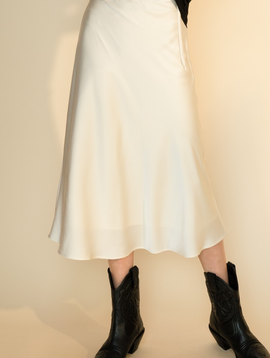 Serena Ivory Satin  Skirt