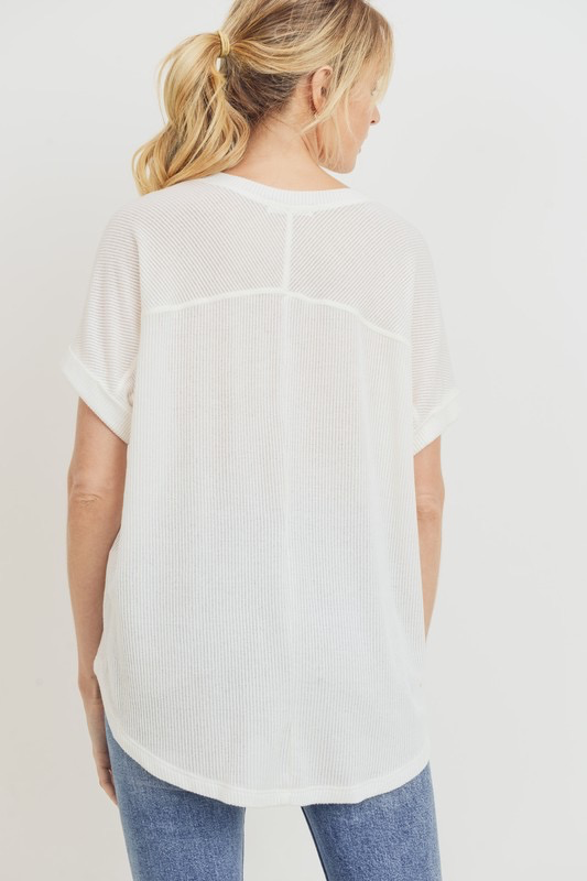 Off White FLow Ribbed Top