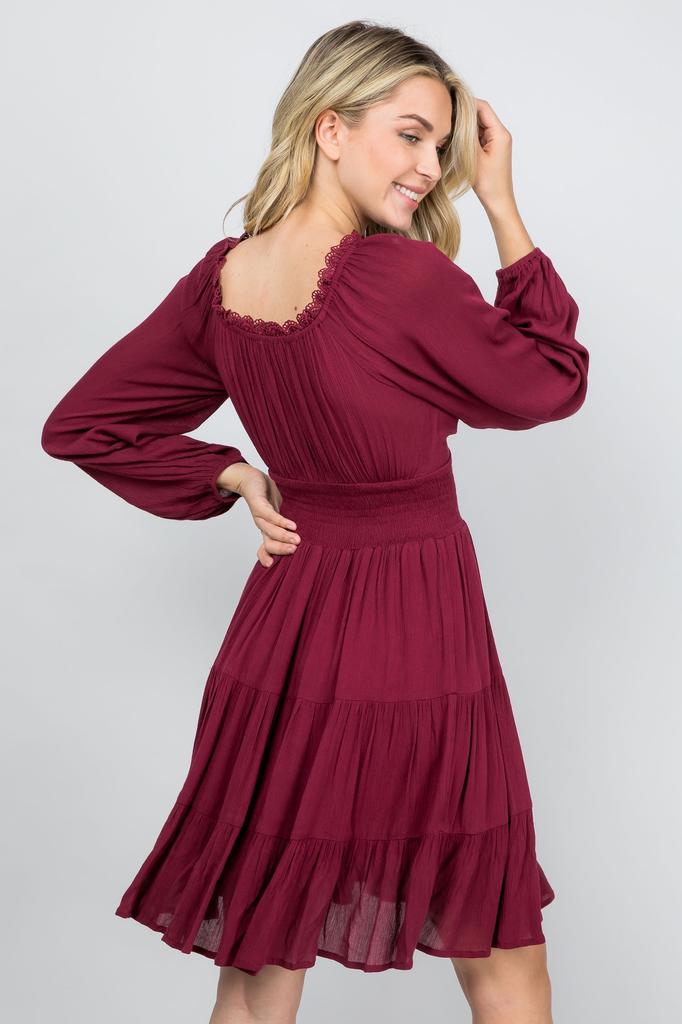Illa Illa Romantic Burgundy  Flare Dress