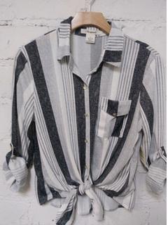 Bold Stripes Tie Top