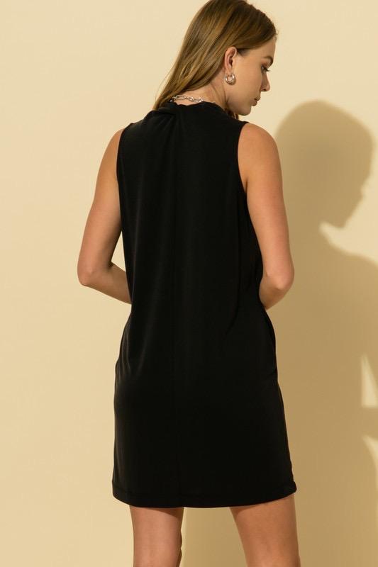 Black V-Neck Pleated Dress
