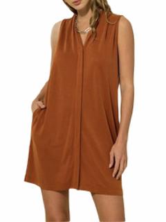 Rust  V-Neck Pleated Dress