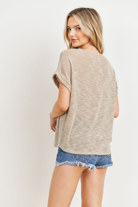 Taupe Flow Cuffed Tee