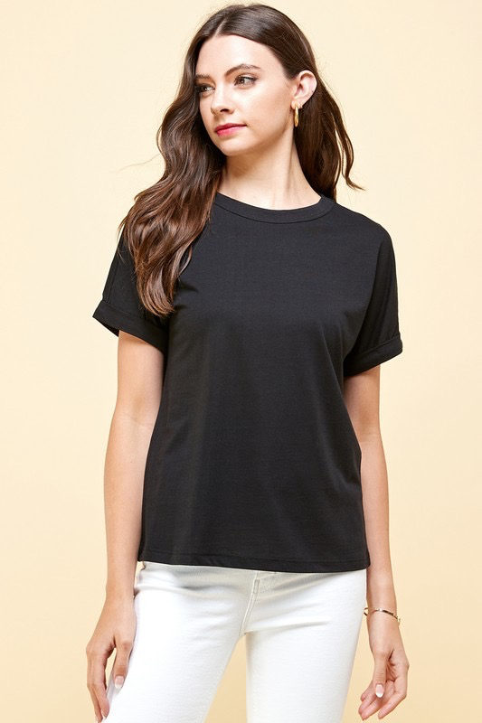 ZAHARA love Rolled Cuff Supima Cotton Top