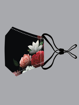 Black & Red Flowers Cotton Mask