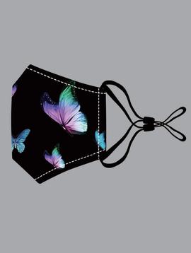 Black & Blue Butterfly Cotton Mask