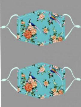 Peacock Floral Cotton Mask