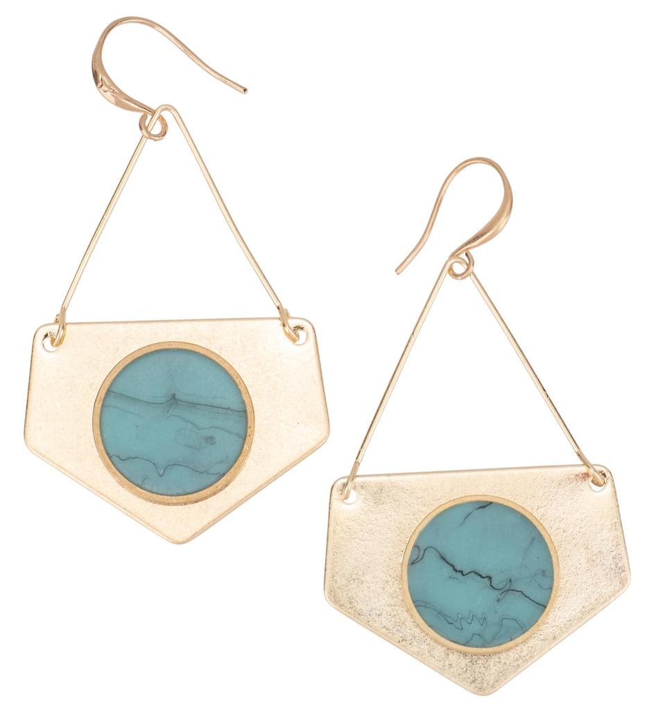 BOPS Gold Pentagon Earrings