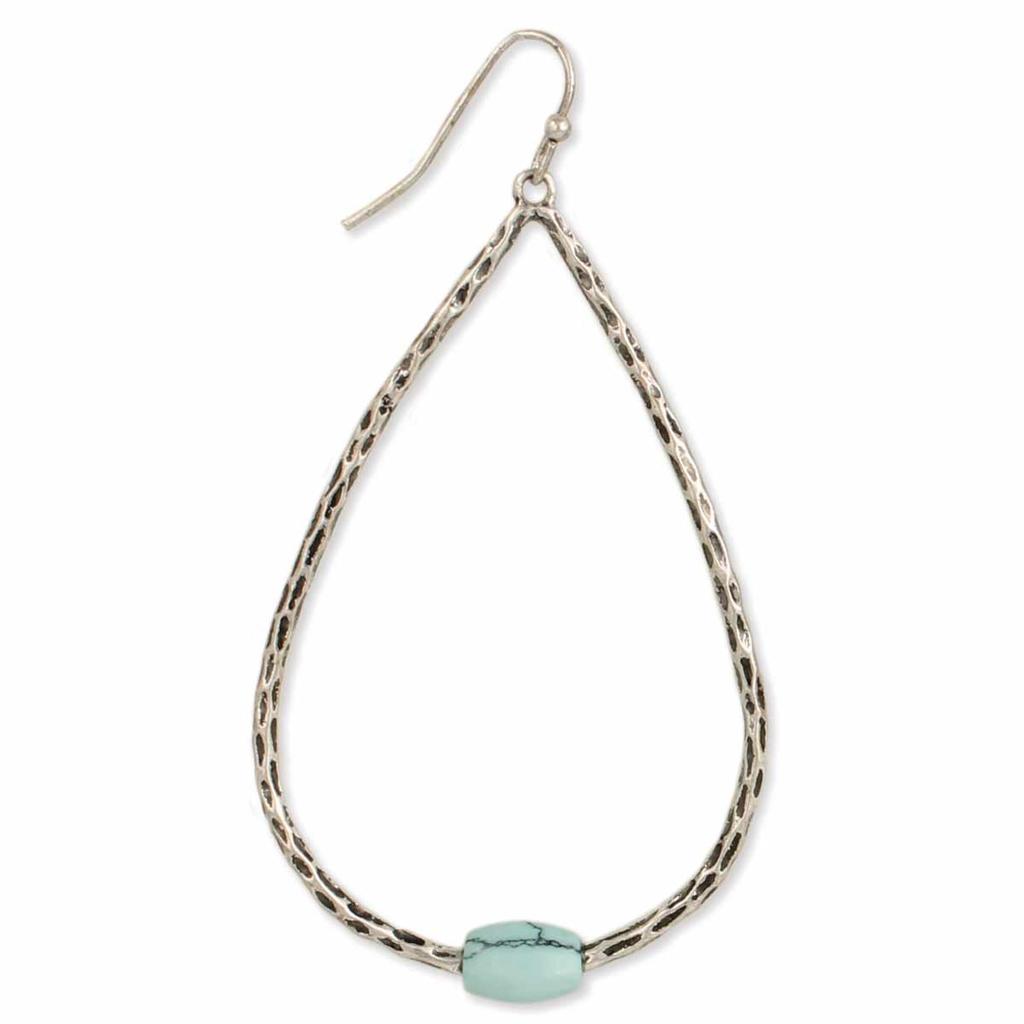 Silver Turquoise Teardrop  Earring