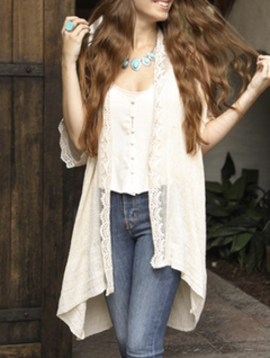 Leto Ivory Lace Trim Kimono