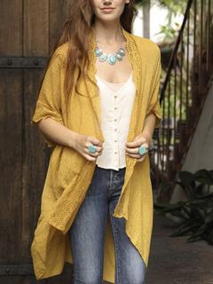 Leto Mustard Lace Trim Kimono