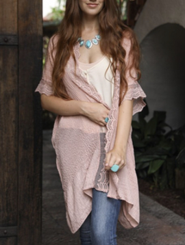 Leto Rose Lace Trim Kimono