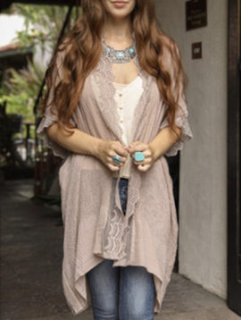 Leto Mocha Lace Trim Kimono