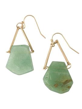 BOPS Green Jade Triangle Earrings